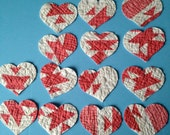 Reserved for tedwilliams 14 Heart shapes from Vintage Cutter Quilt Die cut out  Red White