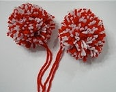 Red and White Yarn Pom Poms Handmade - Set of 2 Large