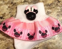 Easter Minnie Mouse Inspired Girls Ruffle Socks you choose color of ribbon