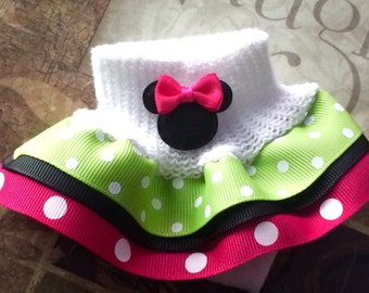 Minnie Mouse Inspired Girls Ruffle Socks You choose color of Ribbon