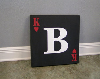"18"" x18"" Subway Style King of Hearts Card Wall Hanging"