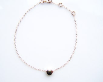 Rose gold heart bracelet with rose gold filled chain, modern minimalist jewelry, gift for her, birthdays, bridesmaid