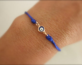 rose gold blue evil eye bracelet  - choose cord color