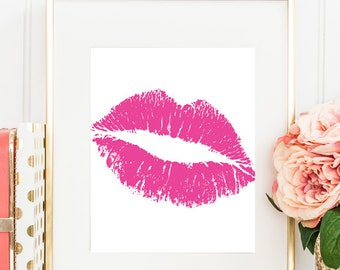 Hot Pink Lips Kiss Art Print, Pink Wall Art, Love Girls Bedroom Wall Poster, Girl Pink Office Decor, Fashion Artwork Gift for Girlfriend
