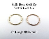 Yellow OR Rose Gold 14k solid, not plated or filled Hoop Earrings PAIR Cartilage Tragus Helix Small Tiny Catchless Seamless Little Sleeper