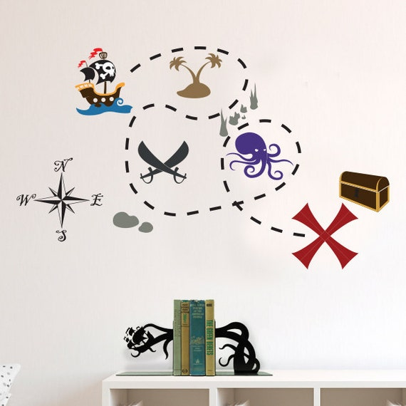 Pirates Kids Wall Decal: Pirate Ship And Buried Treasure Map Decal Set Wall Decal