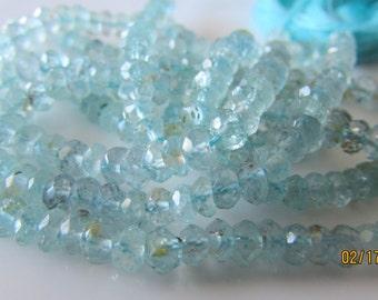 Aquamarine Faceted 4mm Rondelle Beads