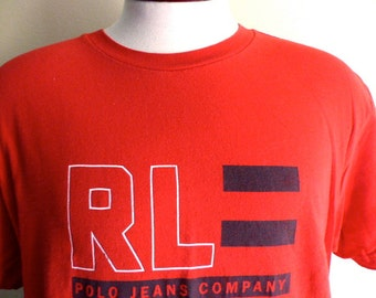 vintage 90's Polo Jeans Co. Ralph Lauren red crew neck white navy blue stripe flag print designer logo graphic t-shirt unisex large