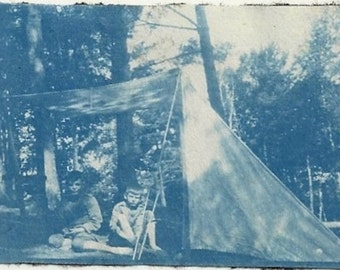 Old cyanotype Photo 2 Boys in Front of Tent Camping 1910s Photograph snapshot vintage