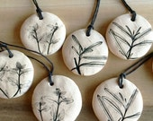 Holiday ornament with herb print, ceramic white Christmas ornament by Julia Paul pottery