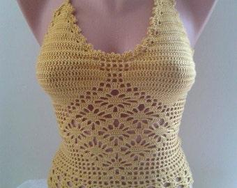 Yellow Hippie Crochet Top,Crochet Crop Top, Bikini Crochet Halter Top - Made To Order