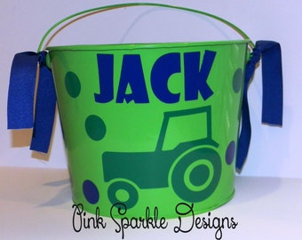 Personalized Metal Tractor Easter Pail