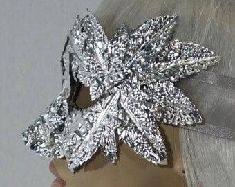 Japanese Silver Sculpture Garden Party Masquerade Mask