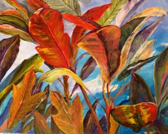 Large acrylic painting, On Sale, clearance priced, red leaves, foliage, canvas,ready to hang,  landscape expressionistic contemporary art