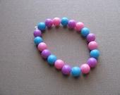 JEWELRY SALE- Girls Bracelet- Beaded Children's Jewelry- Pink, Purple, Turquoise Blue