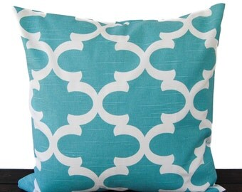 Throw pillow cover cushion cover light teal blue white pillow case Fynn Spirit Blue