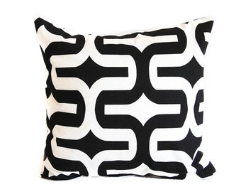Black mod pillow cover One cushion covers black and white throw pillow covers black modern decor
