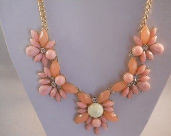 SALE Flower Necklace with Pink, Tangerine, off White and Rhinestone Bead Pendants on a Gold Tone Chain