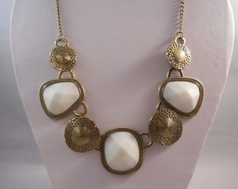 Bib Necklace with Deep Gold and White Pendants on a Deep Gold Chain