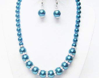 Dark Teal Green Glass Pearl with Rondelle Crystal Bead Necklace & Earrings Set
