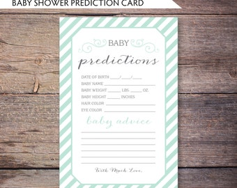 Printable Mint & Gray Baby Shower Advice and Prediction Card in Modern Shabby Chic DiY Printable File - Gemma