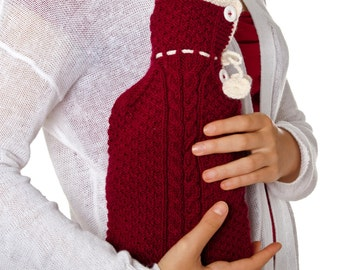 100% hand knitted hot water bottle cover