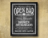Printed Open Bar Drunken Shenanigans wedding bar sign - bar print chalkboard signage - bar prints with optional add ons