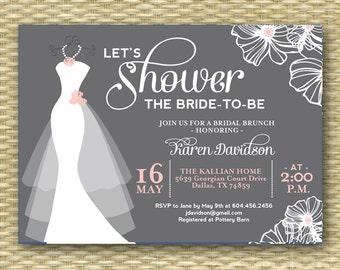 Wedding Dress Bridal Shower Invitation Dress on Hanger ANY COLORS Printable or Printed