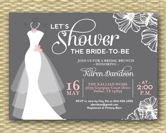 Wedding Dress Bridal Shower Invitation Dress On Hanger Any