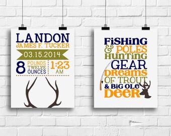 Deer antlers decor, birth stat prints, hunting fishing nursery prints, deer art print nursery, nursery decor, baby boy bedroom art, deer art