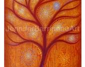 Jewel Tone Color  Wall Art Tree Print by Jennifer Barrineau titled Tangerine Dream