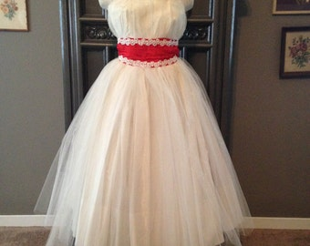50s White Tulle Strapless Cupcake Frock Party Dress with Red Satin Waist Tea Length XS
