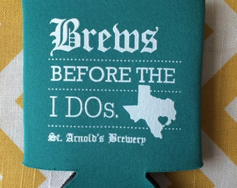 Rehearsal Dinner favors, Brewery Inspired beer label design, Brews Before the I Dos Wedding Can Cooler (25 qty)