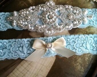 SALE-Wedding Garter-Garters-Stretch lace-aqua- blue-garter-Garter-Rhinestone-Pearl garter-Keepsake-ivory-Lace Garter-bridal garter-ivory