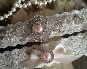 SALE-CUSTOM-Wedding Garter-Garter-Bridal garter-Ivory Lace-Rhinestone-Applique-Blush-Pink-Teal-Blue-Pink-Purple-Ivory-Vintage Garter-Stretch