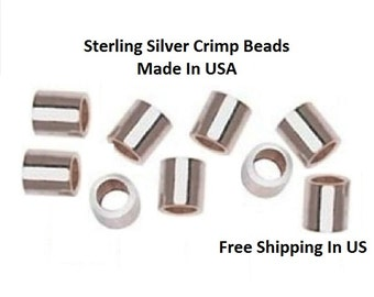 Sterling Silver 1X1 Micro Crimp Beads 100 pcs. Made IN USA 11-55-s