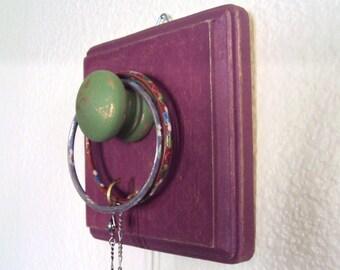 Boho Gypsy Jewelry Hook - Bohemian Necklace Holder - Funky Boho Glam Wooden Wall Hanger - Decorative Key Hook - Purple Gold Green Boho Decor