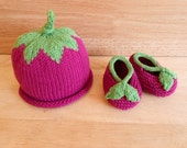 Raspberry Baby Hat and Booties Organic Baby Beanie Crib Shoes Adorable Summer Baby Photo Props 0 - 6 month