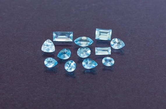 8 20ct lot of mixed faceted cut mt antero aquamarine