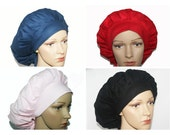 Bouffant Scrub Hat with ties - Solid color Bouffant Scrub Hat - Solid Color Scrub hat - Ponytail scrub hat
