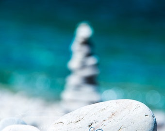 Heart on the Beach Photograph.  Stones on a beach photo.  Calming photo.  Blue. Teal.Turquoise.Tranquil Photo.Large Wall Art.Wisconsin Photo