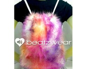 MADE TO ORDER FuZzy rainbow tie dye backpack furry fluffies rave bag festival faux fur bag purse hippie trippy rad furry boots legwarmers