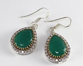 "Turkish Handmade Authentic Ottoman Emerald & Cubic Zirconia Gemstone Vintage Style Earring Size 1 5/8"" :T528"