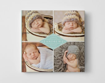 Baby Photo Book Cover Template for Photographers, Baby Book Templates for Boys, Baby Photo Book Cover Template, Newborn Templates - BC107
