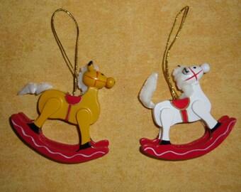 Vintage Christmas Wood Ornaments - 2 Rocking Horses - Christmas Decor - Handpainted Christmas Tree Ornies - Taiwan