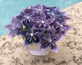 PURPLE HAZE // Origami Paper Flower Bouquet / wedding decorations, origami, kusudama, paper flowers, paper bouquet, centerpiece, bouquet