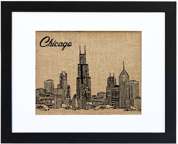 Chicago Skyline Framed Burlap Print Illinois Chicago Print