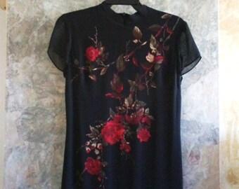 Mica Black full length Asian Inspired Dress size 6