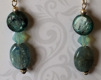 Kyanite and Crystal Earrings with S.S. French Wires