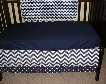 Navy Chevron Crib Skirt 4-sided